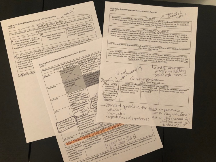 A picture of three pages of an interview guide, with handwritten edits.